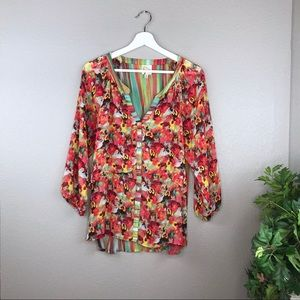 Anthropologie Fig and Flower Boho Floral Tunic Top